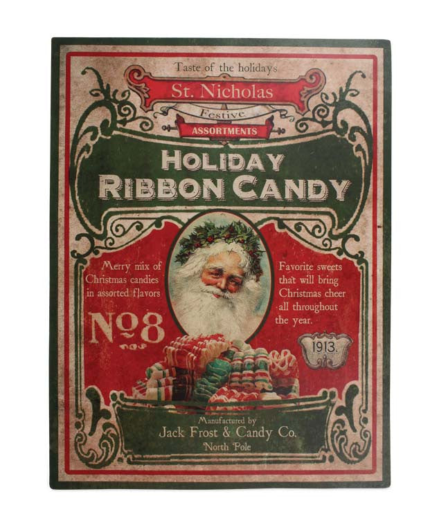 Old Fashioned Christmas Candy Sign - Santa with Ribbon Candy