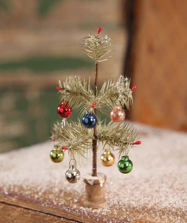Old Fashioned Tiny Christmas Feather Tree with Ornaments and Spool Base