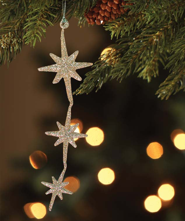 Bethany Lowe Old Gold Moravian Star Dangle Ornaments