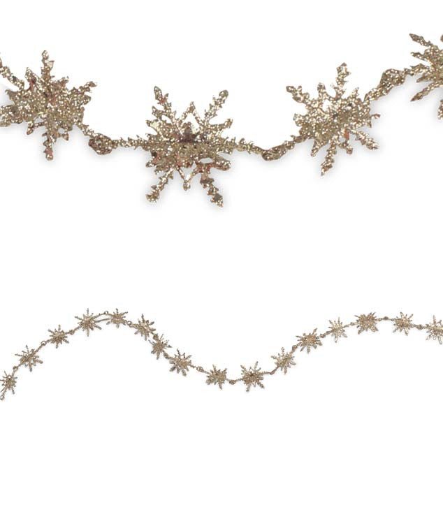 Old Gold Snowflake Garland by Bethany Lowe