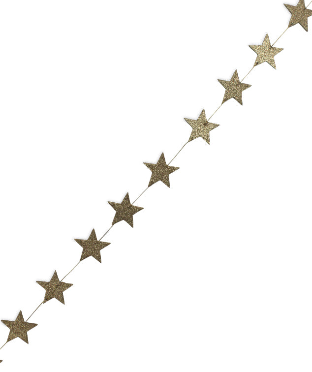 Old Gold Star Garland with Gold Glittered Stars