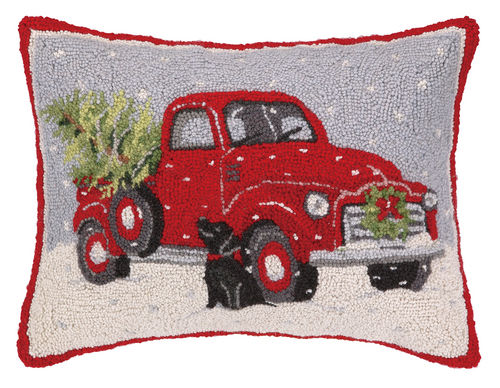 Old Red Truck with Black Lab Christmas Pillow