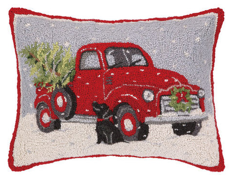 old red truck with black lab christmas pillow - Black Lab Christmas Decor