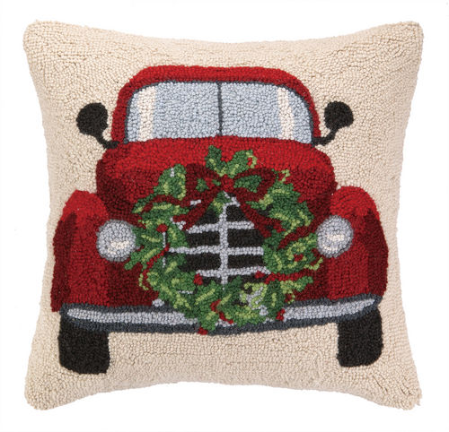 Old Red Truck with Christmas Wreath Hooked Pillow