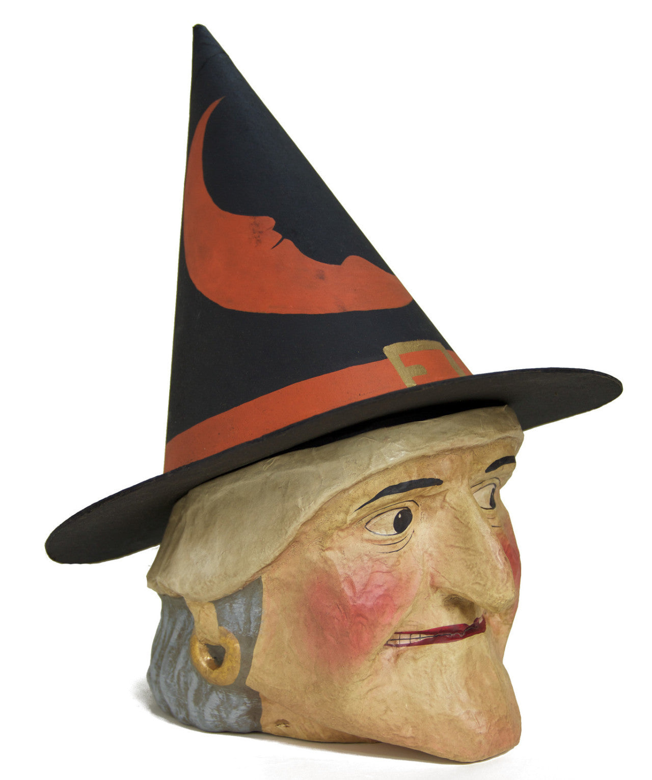 Old Witch Paper Mache Candy Bucket - Large