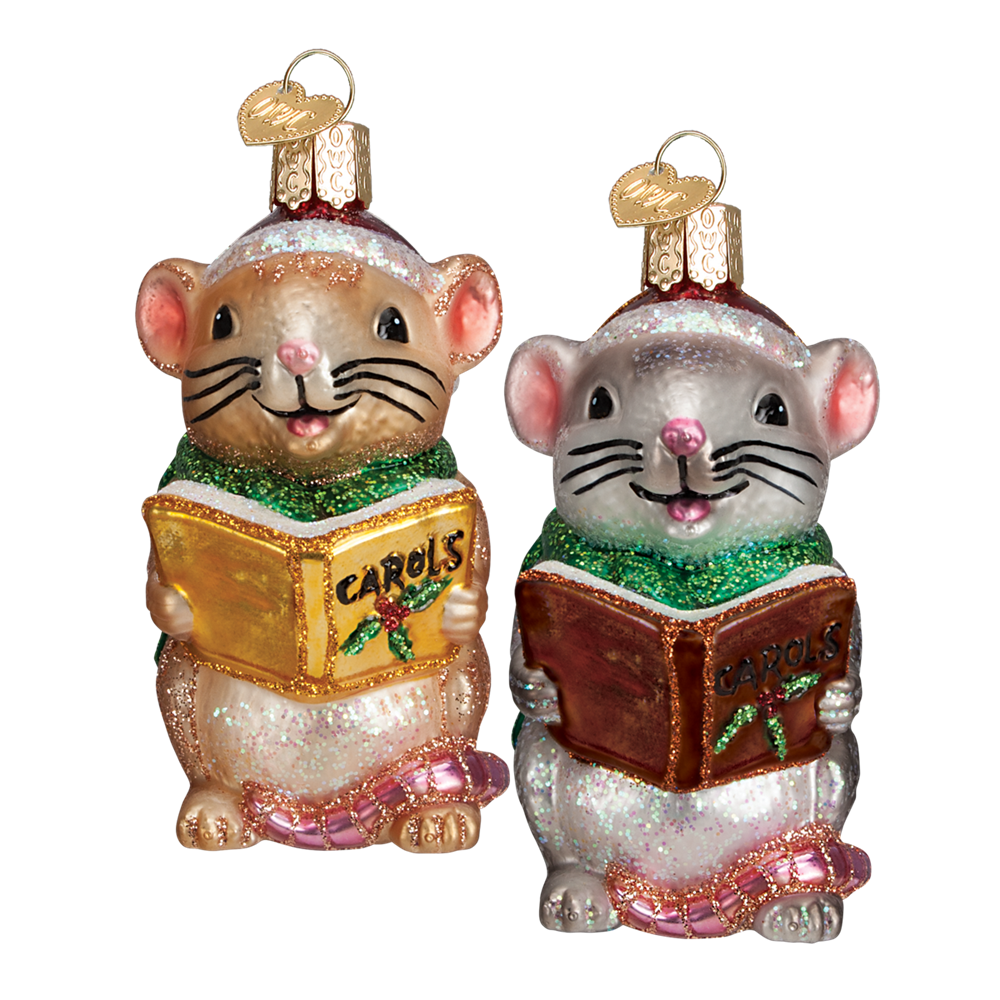 Caroling Mice Glass Ornaments