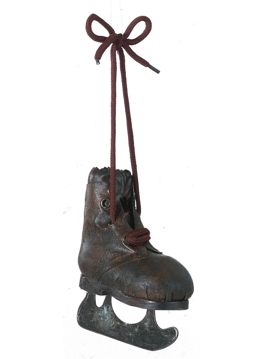 Antique Brown Leather Ice Skate Ornament