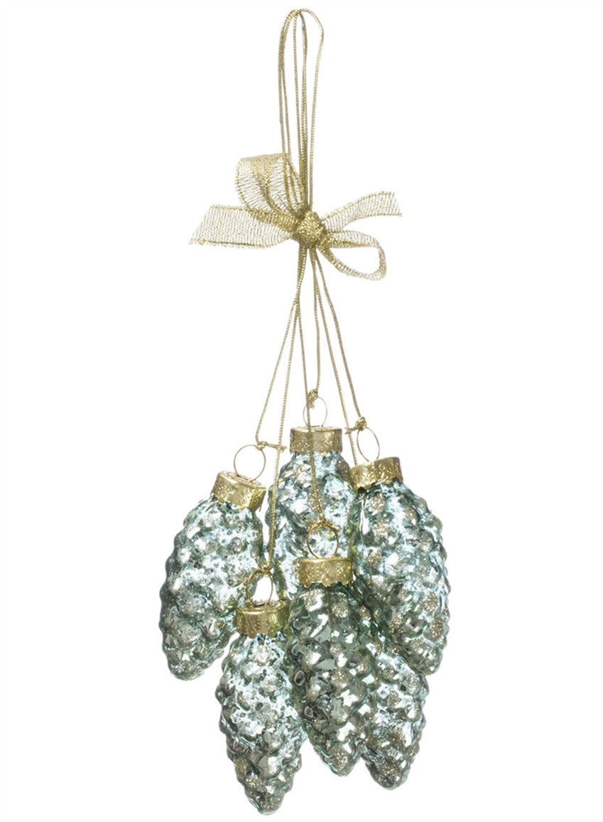 Blue Spruce Pinecone Cluster Ornament