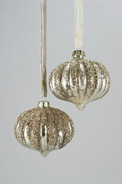 Silver Pearl Snowcapped Ornaments