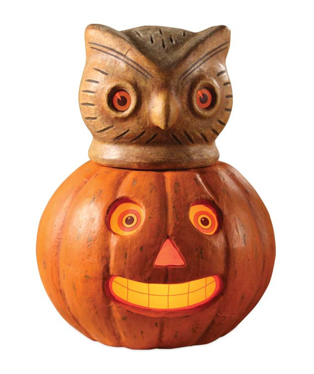 Owl in Pumpkin Container by Bethany Lowe