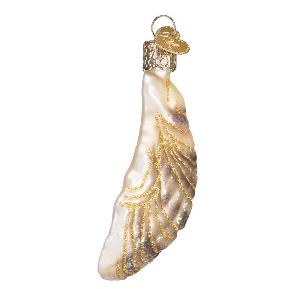 Glass Oyster Shell Ornament with Peal by Old World Christmas