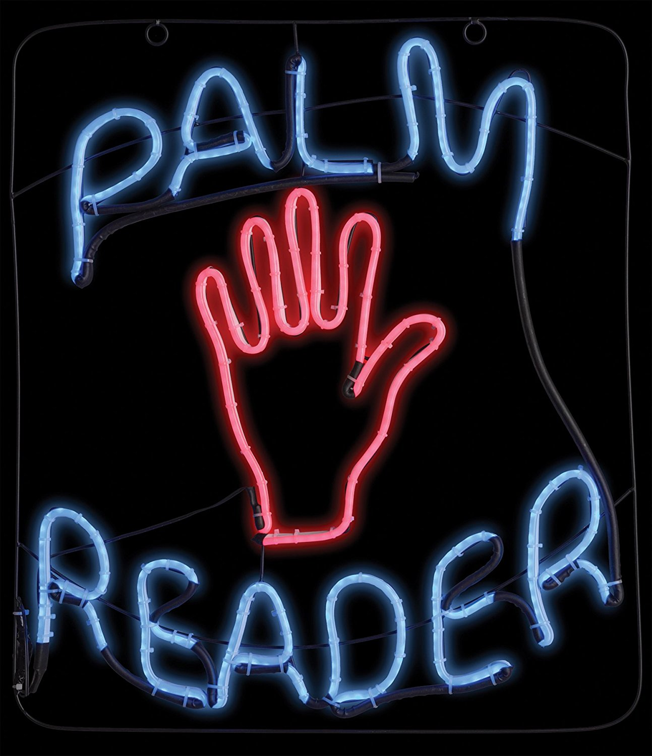 Palm Reader Neon Sign with Hand - Fortune Teller Halloween Prop