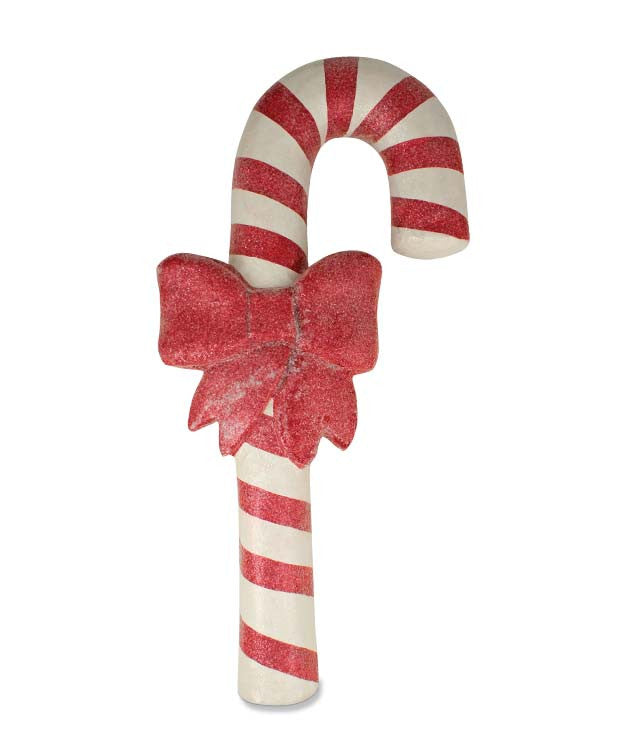 paper mache candy cane with bow bethany lowe christmas