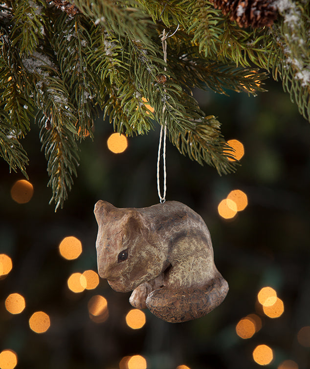 Chipmunk Ornament made from paper mache