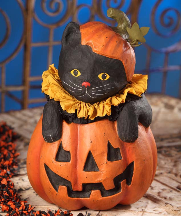 Halloween Paper Mache Cat in Pumpkin