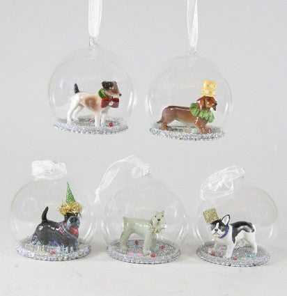 Party Dog Globe Ornaments - Silver Christmas