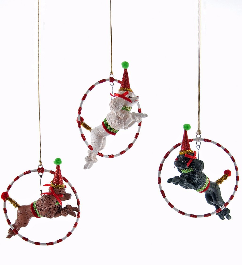 Party Poodles Jumping Thru Hoops Ornament Set by Katherine Collection
