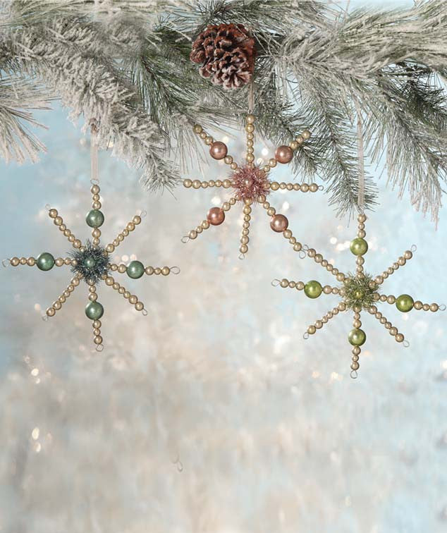 Pastel Beaded Starburst Ornaments