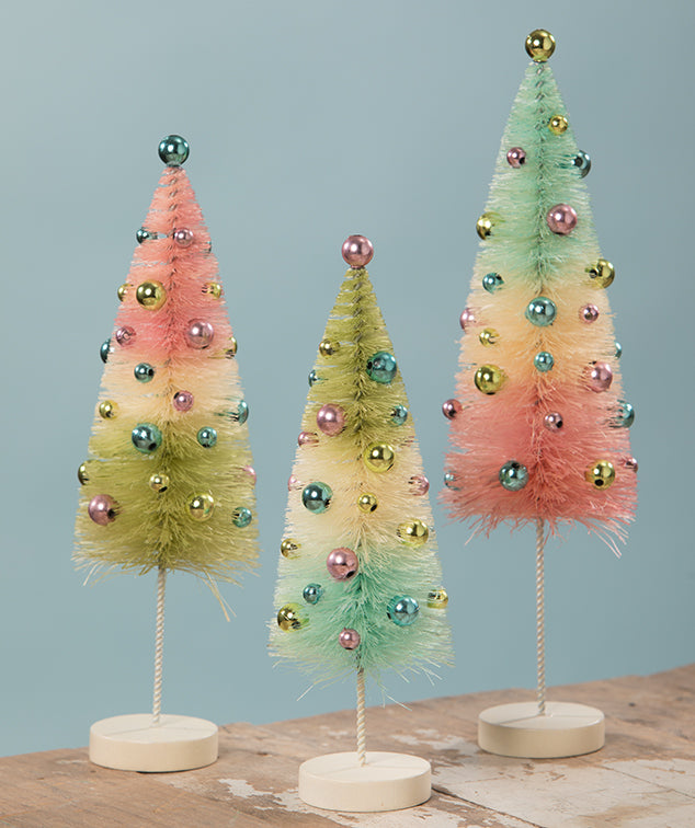 Pastel Confetti Bottle Brush Trees, Pink, Blue, Green