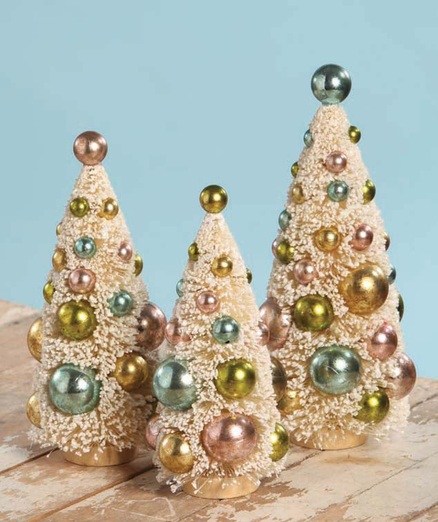 Pastel Decorated Ivory Bottle Brush Trees