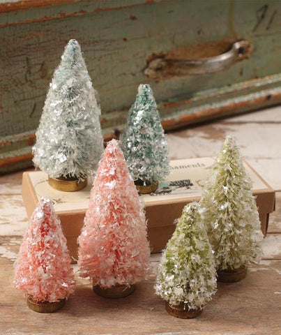 pastel flea market bottle brush trees pink blue green - Bottle Brush Christmas Trees