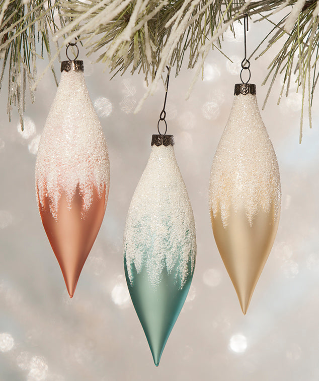 Pastel Glass Finial Ornaments - Retro Christmas by Bethany Lowe