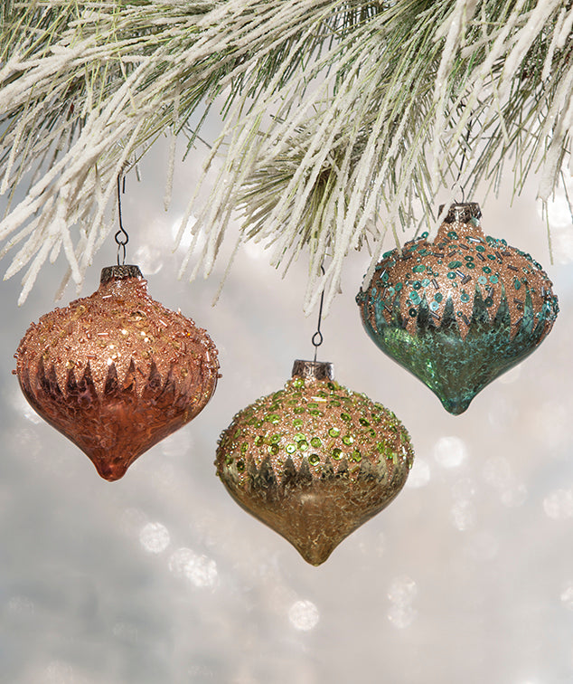 Pastel Christmas Ornaments.Pastel Encrusted Onion Glass Ornaments