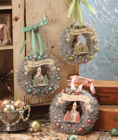 bethany lowe pastel tinsel wreaths with church - Pastel Christmas Decorations