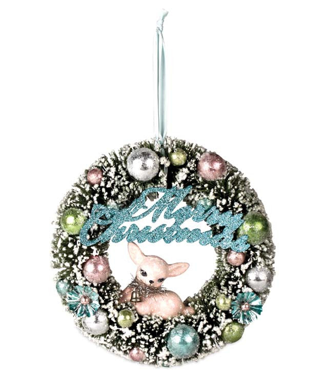 Retro Pastel Wreath with Fawn by Bethany Lowe Christmas