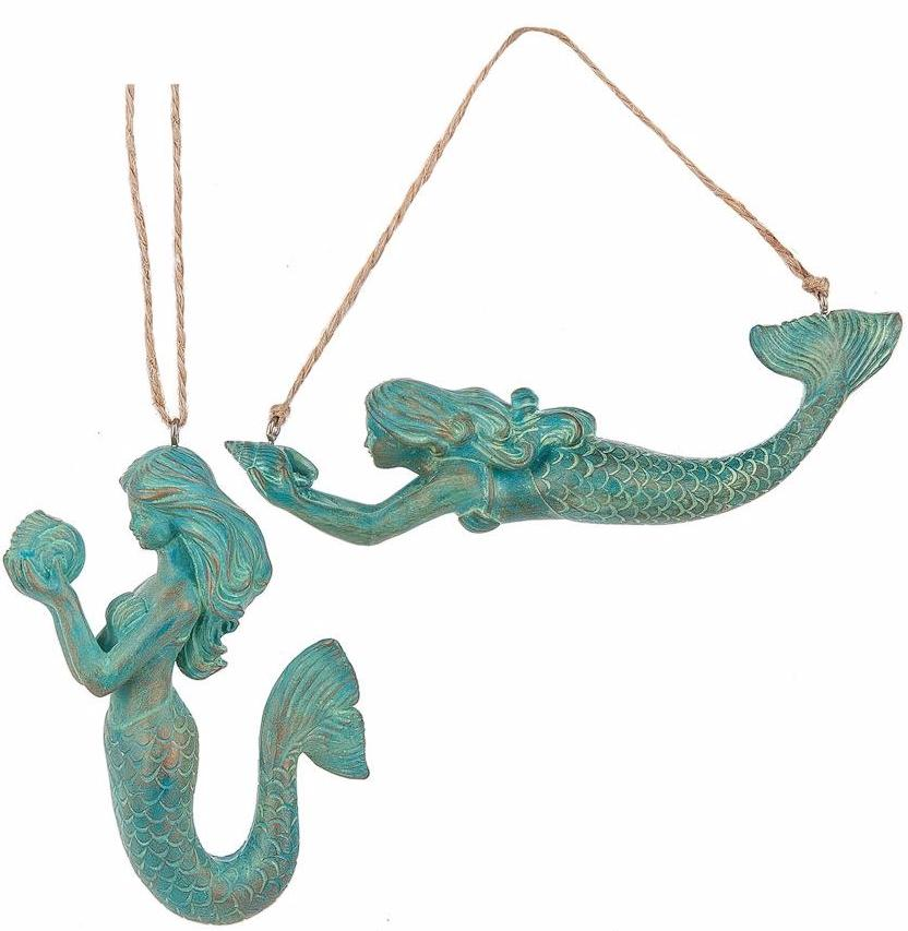 Patina Green Mermaid Ornaments