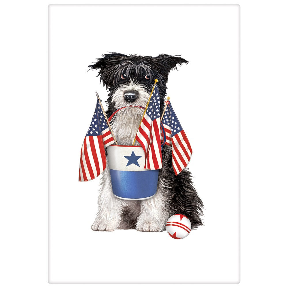 Patriotic Parade Pup Flour Sack Towel 4th of July Dog with Bucket of Flags