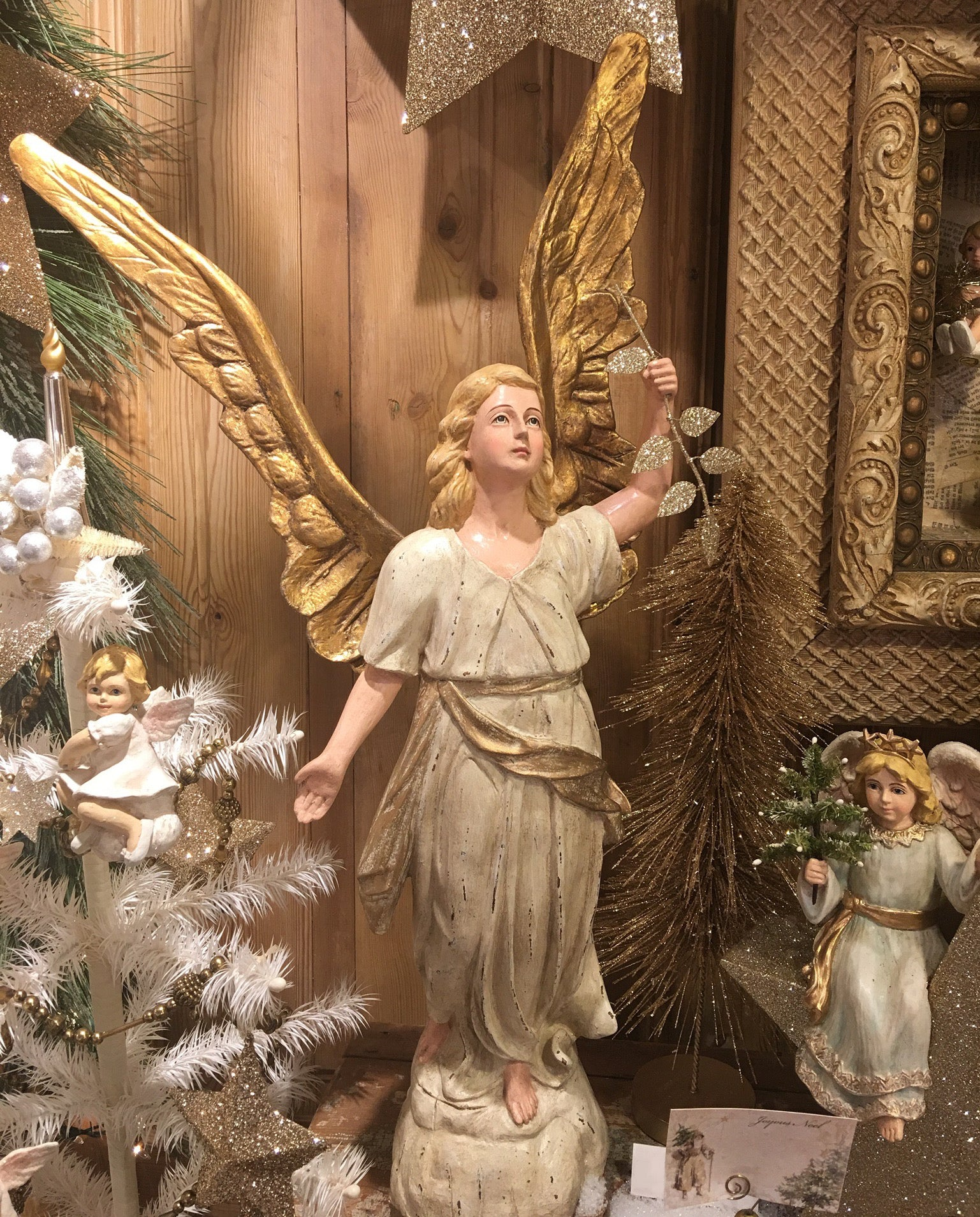 Peaceful Angel with Golden Wings