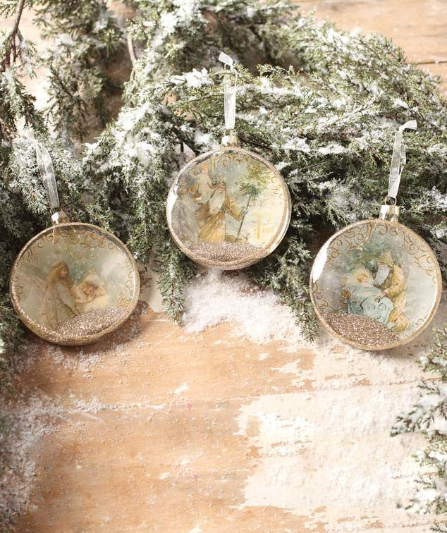 Peaceful Christmas Glass Disc Ornaments with Angels