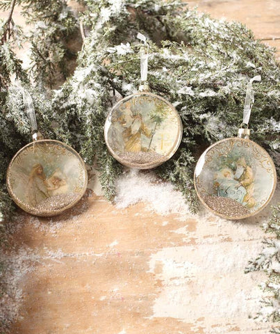 Peaceful Christmas Glass Disc Ornaments with Angels - Bethany Lowe Christmas Decorations Tagged