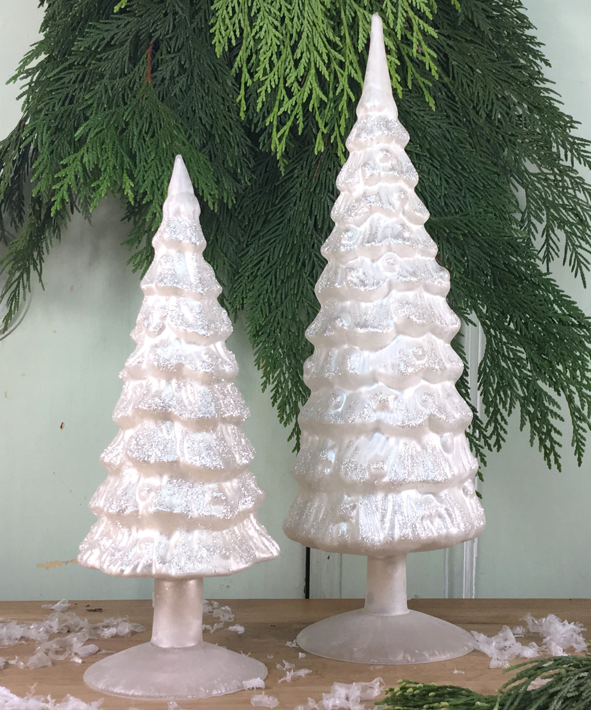 White Pearl Glass Trees with Glitter