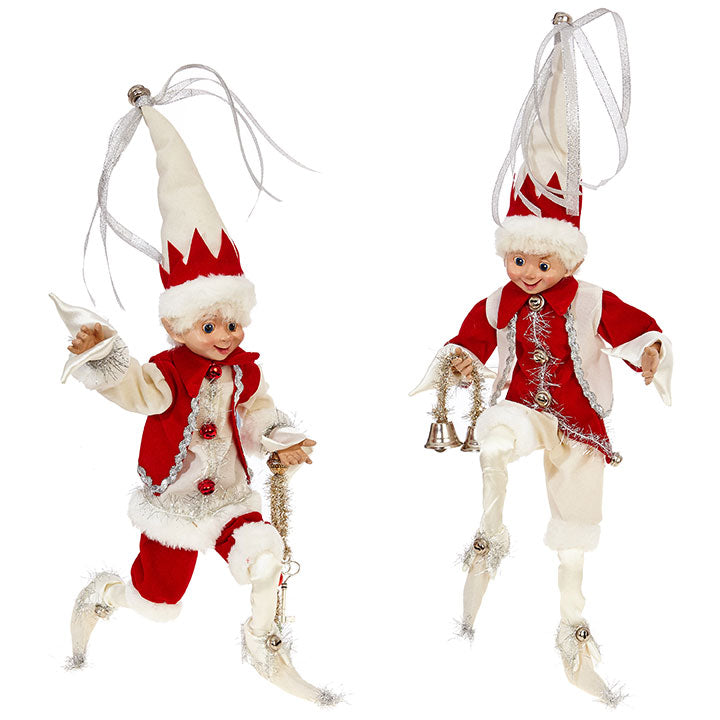 Peppermint Elves Poseable Red and White Elf