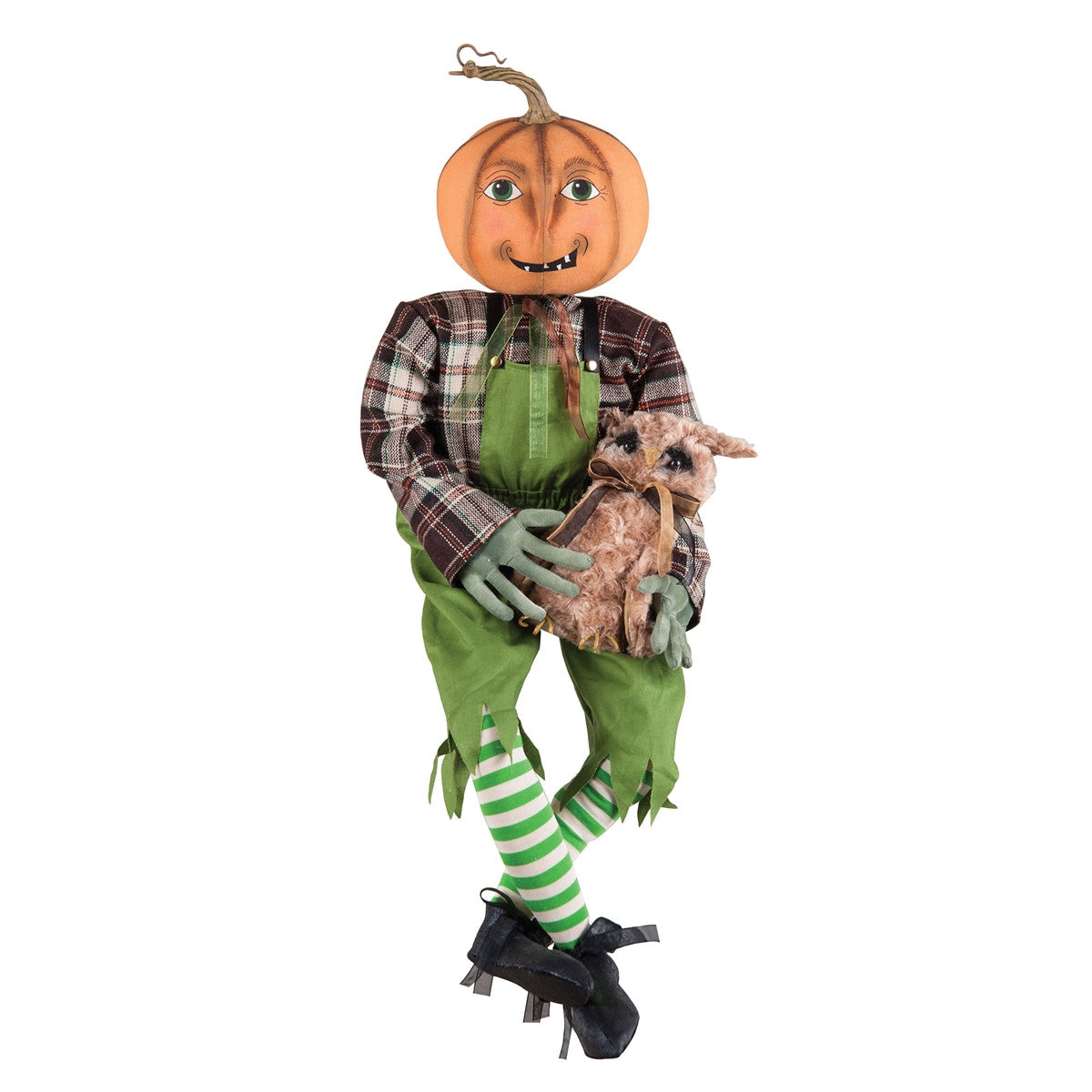 Joe Spencer Percival Pumpkin Guy with Owl Doll