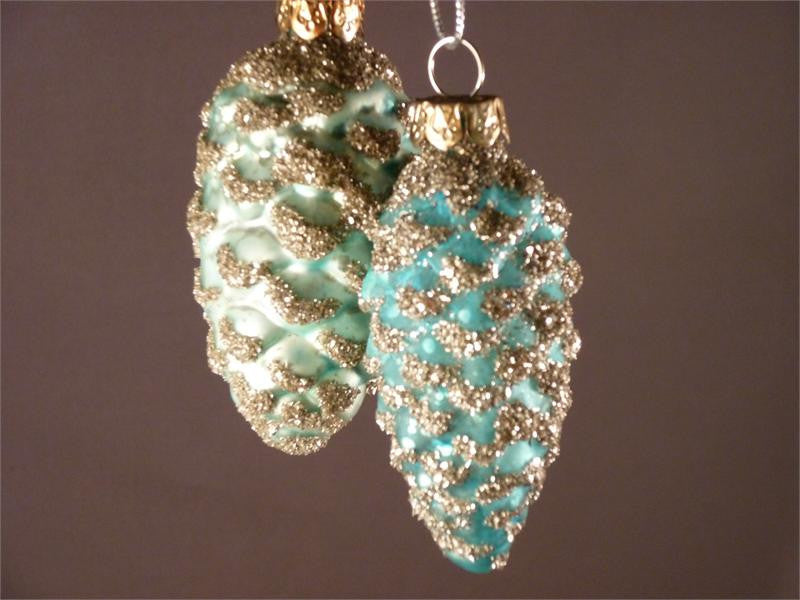 Aqua Pinecone Ornaments