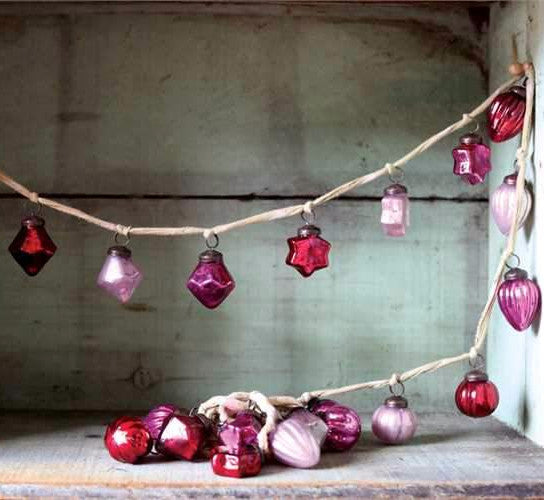 Pink & Red Mercury Glass Ornament Garland with Stars