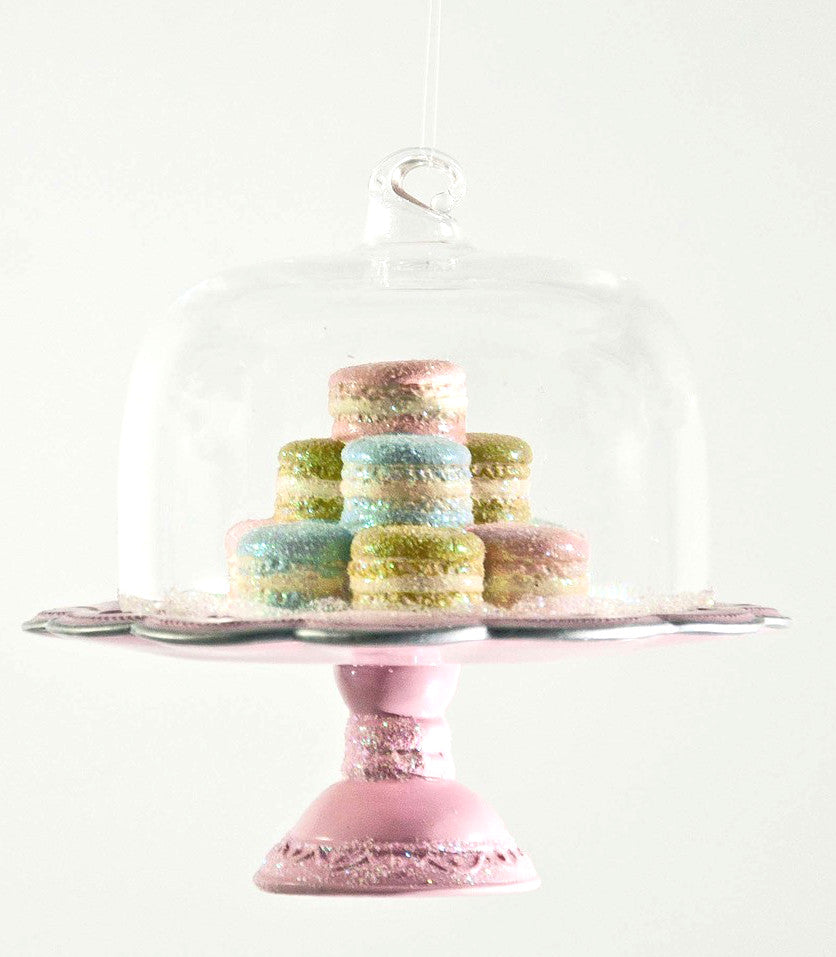 Pink Cake Plate with French Macaroons Ornament