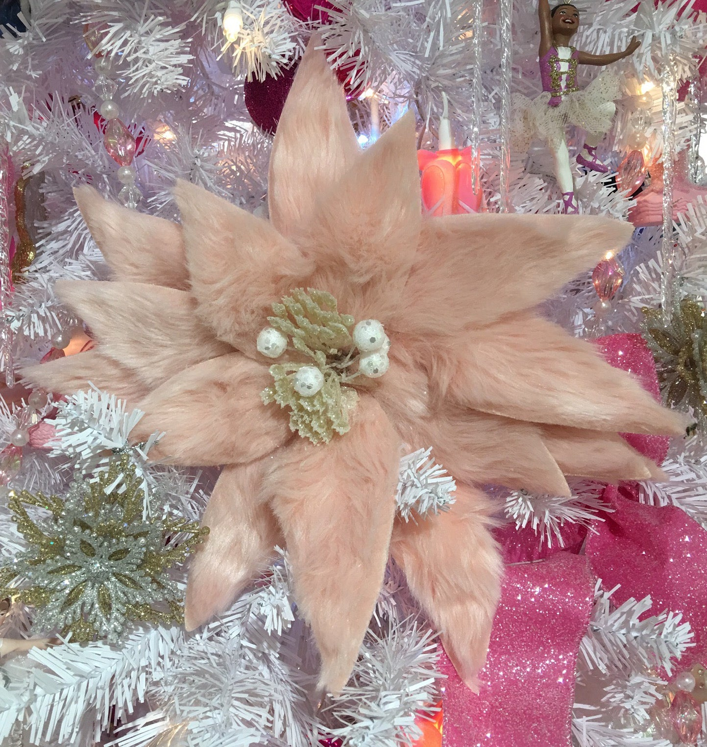 Pink Christmas Decorations - Fur Poinsettia