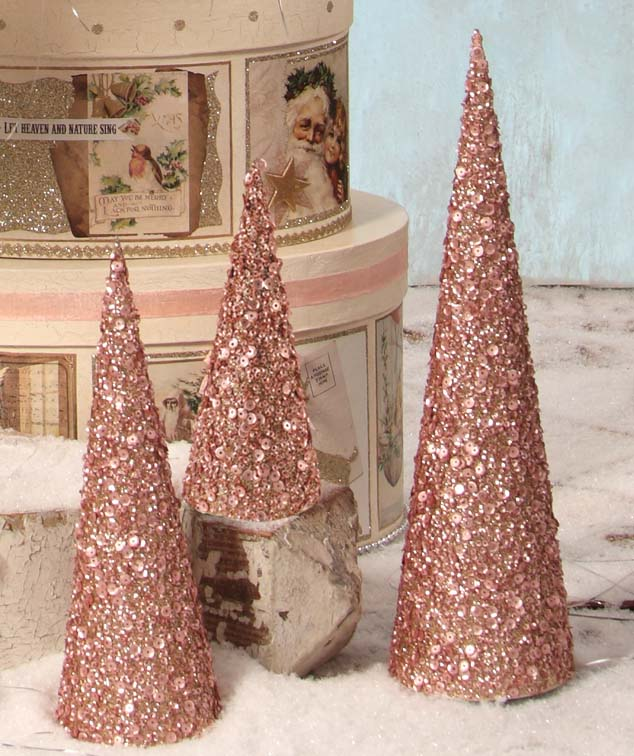Bethany Lowe Pink Sequined Cone Trees
