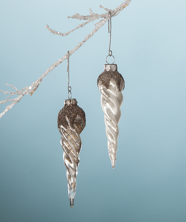 Twisted Platinum Glass Icicle Ornaments