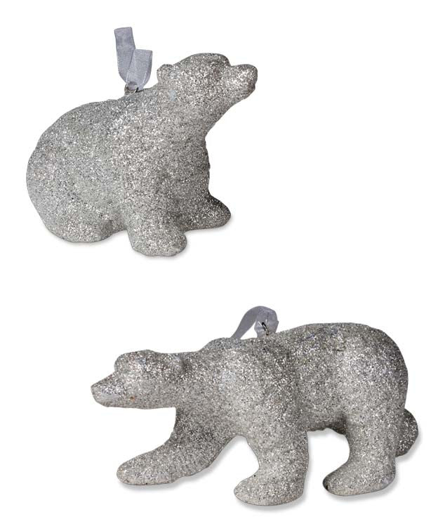 Platinum Glitter Polar Bear Ornaments