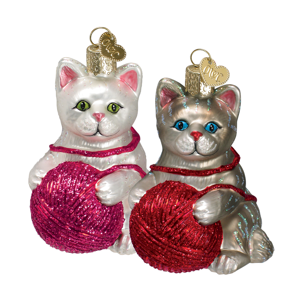 Kitten Ornaments with Ball of Yarn