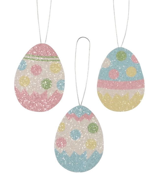 Polka Dot Egg Ornaments, Glittered Tin