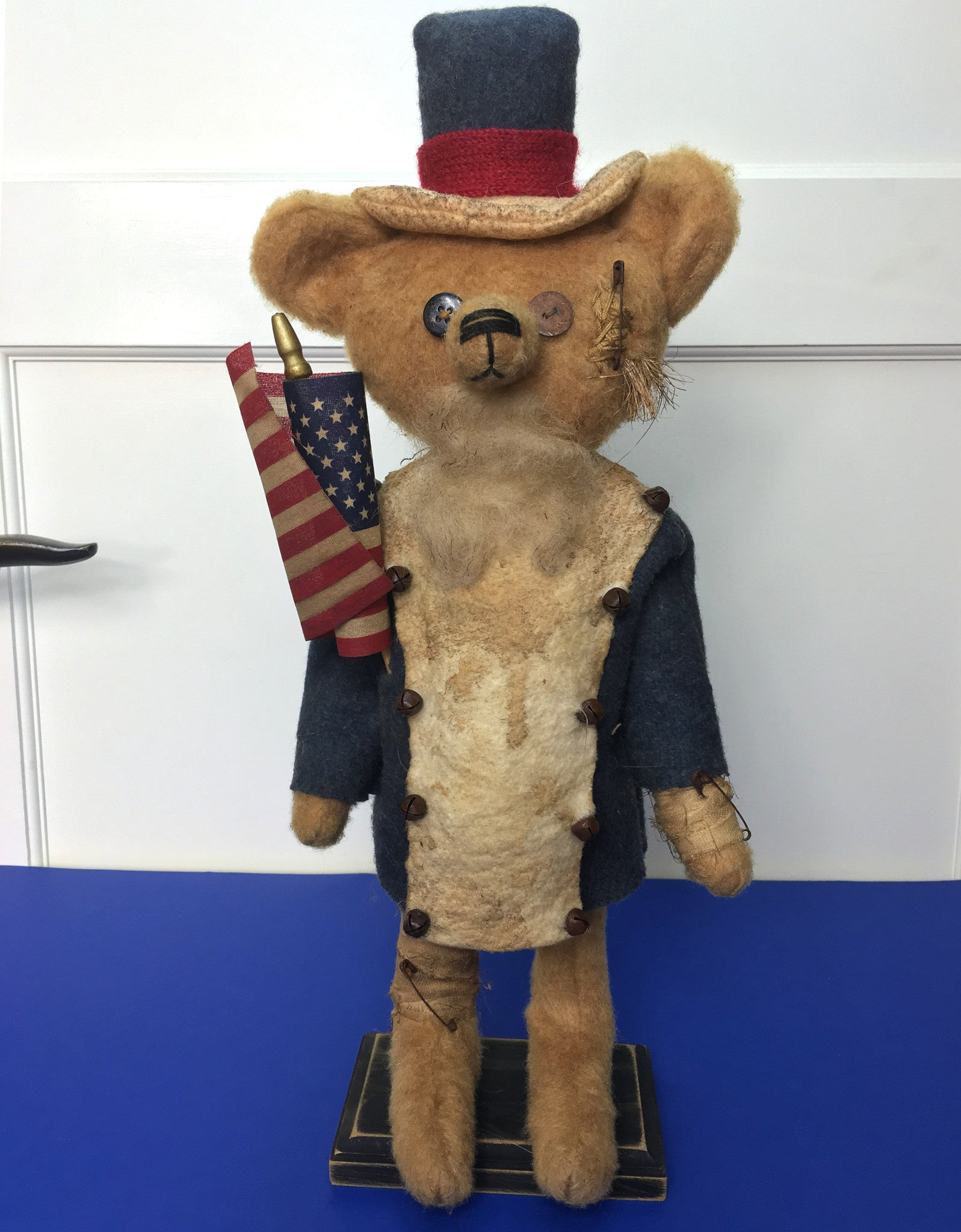 Primitive Uncle Sam Teddy Bear Folk Art