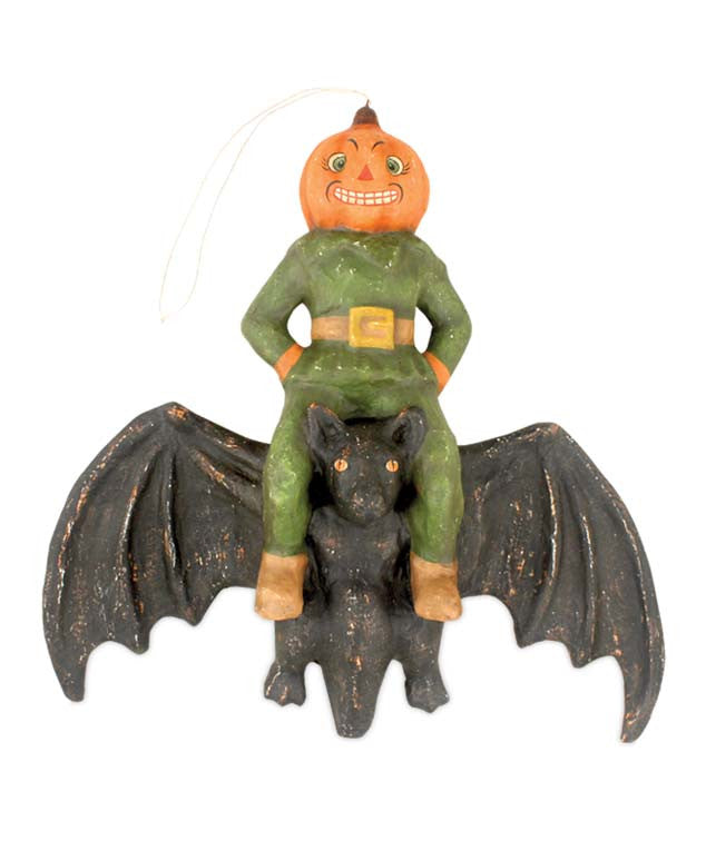 Pumpkin Head On Bat - Bethany Lowe Halloween Heirloom Collection