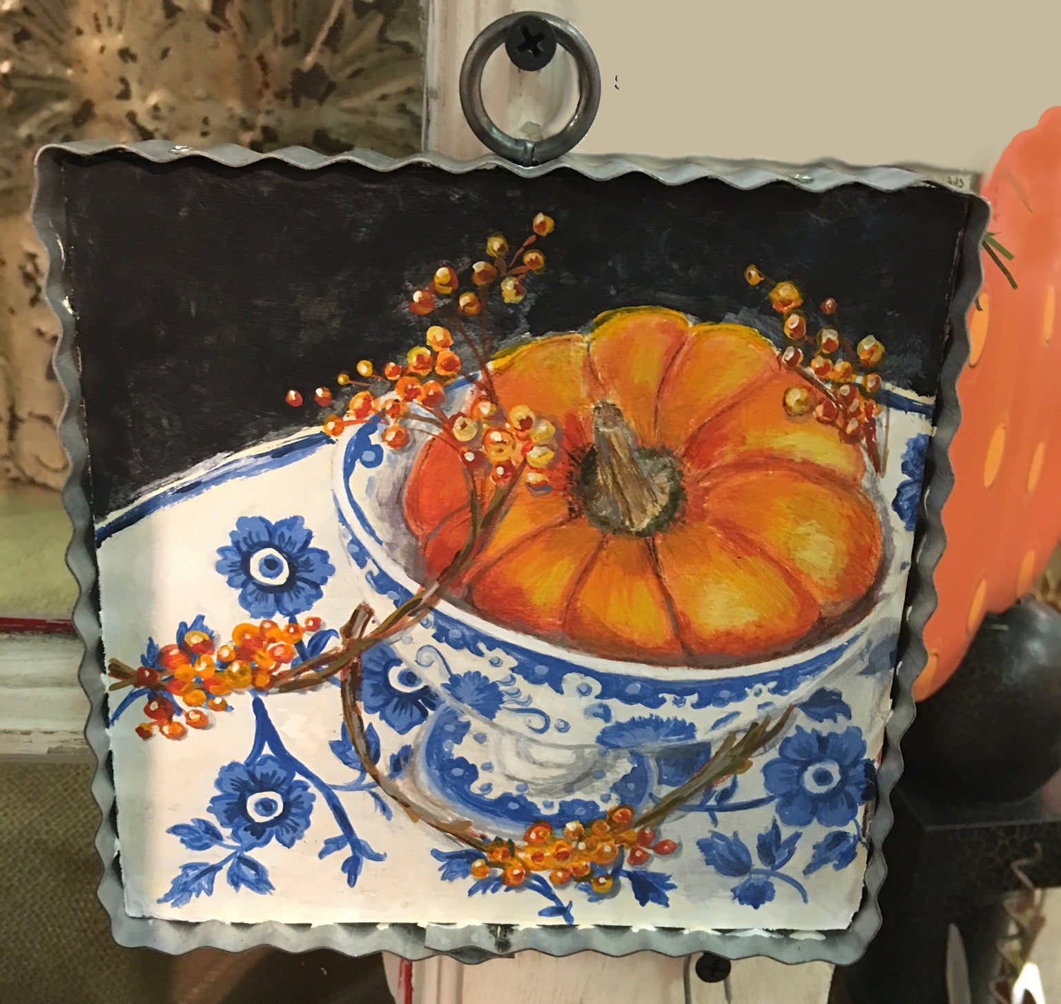 Pumpkin in Delftware Tea Cup Art