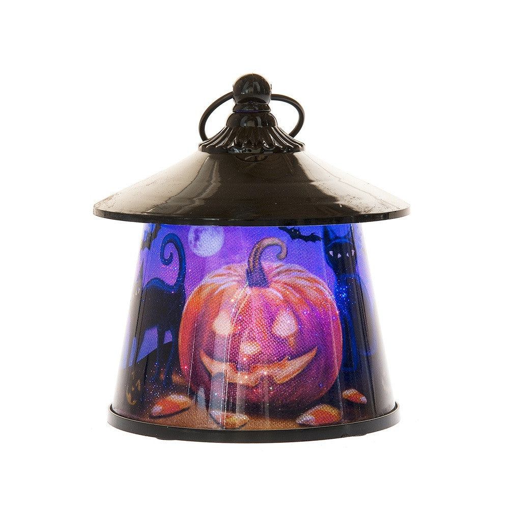 Pumpkin & Black Cat Lantern with Rotating Halloween Scene - LED